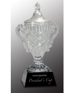 14 in. Crystal Cup on Black Base