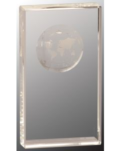 7 in. Crystal Rectangle with Globe Etching