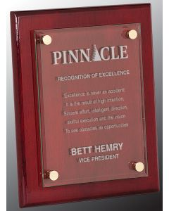 8 x 10 Rosewood Piano Floating Glass Plaque