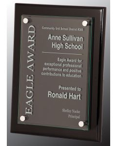9 x 12 Black Piano Floating Glass Plaque