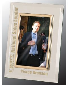 4 x 6 Glass Mirror Picture Frame, Gold Frame