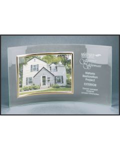 6 1/2 x 12 3/4 Jade Glass Crescent with Frame