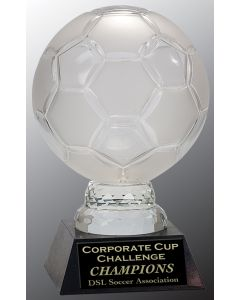 12 in. Glass Soccer Ball with Marble Base